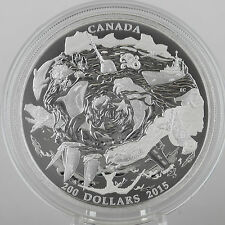 Canada 2015 $200 Coastal Waters of Canada 2 oz. 99.99% Pure Silver Matte Proof