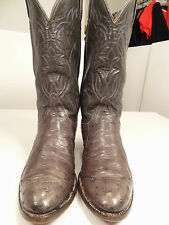 Vtg Black Label Tony Lama Gray Ostrich/Leather Cowboy/Western Boots-9 D