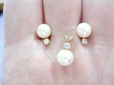 GORGEOUS Vintage 14k Yellow Gold Pearl Pendant & Earrings Set Diamond accent