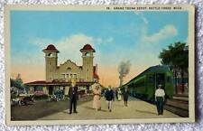 POSTCARD GRAND TRUNK RAILROAD TRAIN STATION DEPOT BATTLE CREEK MICHIGAN #C1