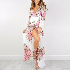 Bohemian Women Long Sleeve Wrap V Neck Chiffon Floral Pattern Maxi Dress Slit XL