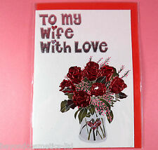 To My Wife With Love Valentines Day Card,Birthday Card with Flowers,Card for Her