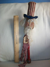 Primitive Grungy Americana Uncle Sam Poke Make Do Red Textile Bobbin USA Tag 15""