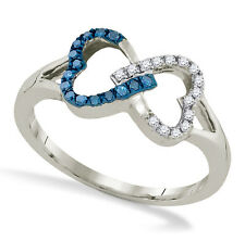 Cute! 100% 10K White Gold Linked Hearts Blue & White Diamond Infinity Ring .15ct