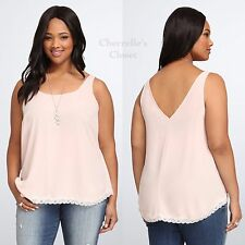 ~Free Shipping~ Torrid Lace Trim Georgette Tank Top Plus Size 5 28 5X NWT