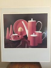 Mid Century Kodak Orange Pottery Teapot Set on Ektacolor Paper Photo Rick Warner