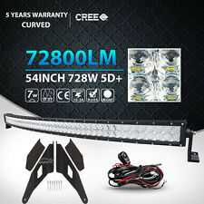 5D 54Inch 728W Curved LED Light Bar + Mount Bracket Fit GMC/Chevy Silverado 1500