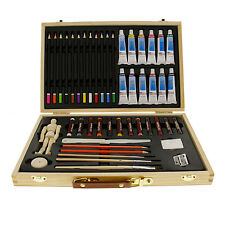 US Art Supply 46 Piece Watercolor Painting Set with Wooden Artist Storage Box