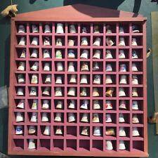 VTG china porcelain thimbles Lot of 92 plus display case, Delft, Disney, more!
