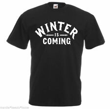 MEN'S winter is coming game of thrones loose fit t shirt black tv medium M