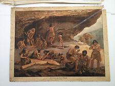 Schulwandbild Anschauungsbild Lehrmaterial 30er Jahre Höhlenleben Steinzeit alt