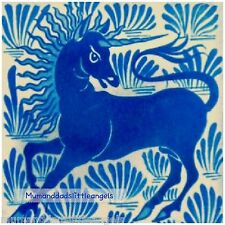 LOVELY ART AND CRAFTS WILLIAM DE MORGAN BLUE UNICORN CERAMIC TILE COASTER