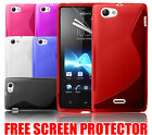NEW S LINE WAVE GEL CASE COVER & SCREEN PROTECTOR FOR SONY XPERIA J ST26I