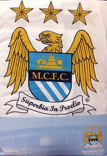 MANCHESTER CITY SINGLE BED FITTED VALANCE SHEET WHITE BLUE CREST POLY COTTON