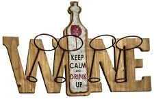 Legno Rustico Vintage in LEGNO PORTA BOTTIGLIA VINO Wall Art Keep calm and drink up