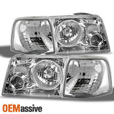 Fits 93-97 Ford Ranger Chrome Projector Headlights Lamps + Corner Signal Lights