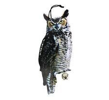 Owl Scare Crow Decoy Yard Protection Garden Birds Hang Tree 16 Inch Motion Bell