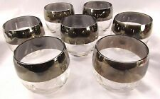 Mid Century Modern Dorothy Thorpe Roly Poly Glass Set (7) WIDE Silver Band