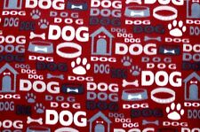 "DOG DOG DOG HOUSE BONES COLLARS MAROON BACKGROUND FLEECE MATERIAL 2 YDS 60 X 72"""
