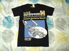 T Shirt Star Trek TOS Enterprise Haynes Manual Black Small