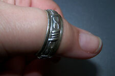 Heavy Sterling .925 Unisex SPINNER RING w/Oxidized Southwest style-Size 13-Look!
