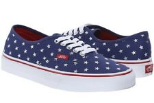 New VANS blue/red Silver Stars Lace-Up low-top skate SHOES womens 10.5 MENS 9
