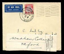 Malese stretto insediamenti Kg5 1937 POSTA AEREA reindirizzati Banca NY a wadham COLLEGE