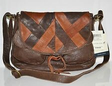New Lucky Brand Patchwork Piece Train Leather Brandy/Choc Crossbody Bag