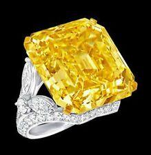 25ct Asscher Yellow Fancy CZ Engagement Ring Marquise Gorgeous Big unique SZ