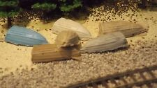 N-Scale 6 Unfinished Row Boats 1:160 Model Train Detail Accessories