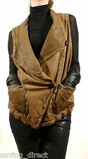 New GIORGIO BRATO Distressed Perforated Leather Sleeveless Brown Olive Jacket 46