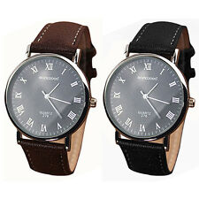 Reloj de pulsera Men's Automático Vintage De Cuero Negro y Marrón Analógico Cuarzo de negocios