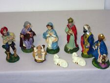 9 Pcs Vtg Xmas Nativity Composite Paper Mache Figures most made in Italy