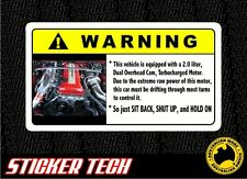 WARNING SR20 TURBO ENGINE STICKER DECAL TO SUIT NISSAN SILVIA 180SX 200SX SSS