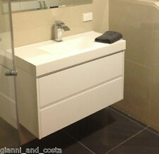 BATHROOM VANITY UNIT - 900mm POLYURETHANE WALL HUNG WITH POLY MARBLE BASIN