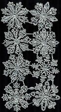 SNOWFLAKE SILVER WINTER LARGE PAPER DRESDEN GERMAN EMBOSSED MEDALLION ORNAMENT