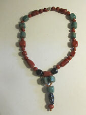 Necklace. Unique. Beaded. Reds and Greens. New.