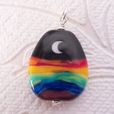 Rainbow Moon Lampwork Glass Pendant Set in Sterling Silver Charm Pride Jewelry