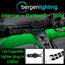 2X 500MM GREEN USB 12V LIGHTER INTERIOR KIT 12V SMD5050 DRL MOOD LIGHTING STRIPS