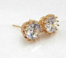 fashion1uk Simulated Diamond 18K Yellow Gold Plated Luxury 8mm Stud Earrings