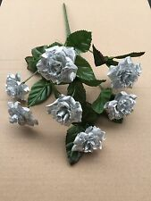 SILVER Rose Bunch artificiali Torta Nozze Fiori Finti Posy Bush Craft Rose
