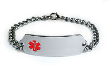Medical Alert ID Bracelet with curb chain.  Free medical wallet Card! IDB52