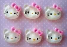 20 Acrylic Cute Kitty Cat Bow Flatback Button/DIY Paper Craft Decor/Bead B1-Pink