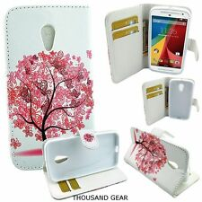 For Motorola Moto G2 Moto G 2nd Generation Phone Case Wallet Pouch Bonsai Pink