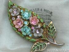 COLOURFUL VINTAGE 30/40'S CELLULOID PLASTIC FLOWER,DIAMANTE & ENAMEL LEAF BROOCH