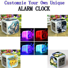 Customize Alarm Clock LED Digital 7Color Change Anime Hatsune Miku Naruto Totoro
