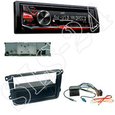 JVC KD-R471 CD/USB Radio + VW Beetle Caddy Radioblende + Quadlock ISO Adapter
