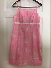 Lilly Pulitzer Pink Palm Tree Cotton Spaghetti Strap Dress Size 6