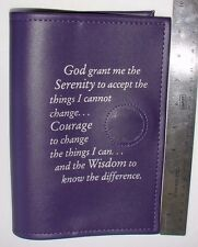 Alcoholics Anonymous AA Big Book Serenity Prayer Medallion Holder Purple Cover