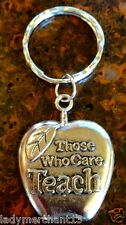 """Those Who Care Teach"" Key Rings/Wholesale lot of 24/New!/Great gifts & price!"